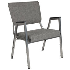 HERCULES Series 1500 lb. Rated Gray Antimicrobial Fabric Bariatric Arm Chair with 3/4 Panel Back and Silver Vein Frame