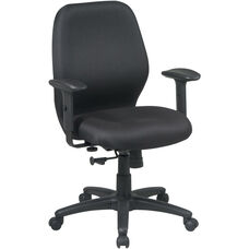 Work Smart Mid Back 2-to-1 Synchro Tilt Managers Chair with 2 -Way Adjustable Soft Padded Arms