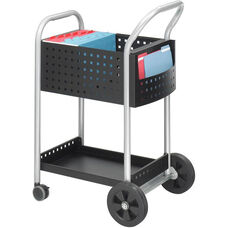 Scoot™ Steel Mobile Mail Cart with Bottom Shelf - Black and Silver