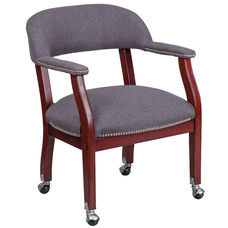 Gray Fabric Luxurious Conference Chair with Silver Trim Nails and Casters