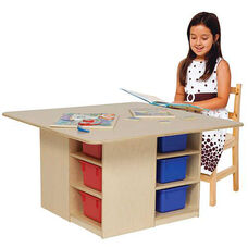 Healthy Kids Plywood Cubbie Table with Twelve Multi-Colored Storage Trays Underneath - Assembled - 36