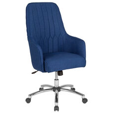 Albi Home and Office Upholstered High Back Chair in Blue Fabric