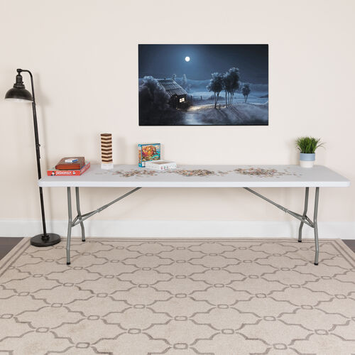 Our 8-Foot Granite White Plastic Folding Table is on sale now.