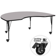 Mobile 48''W x 72''L Kidney Thermal Laminate Activity Table - Height Adjustable Short Legs