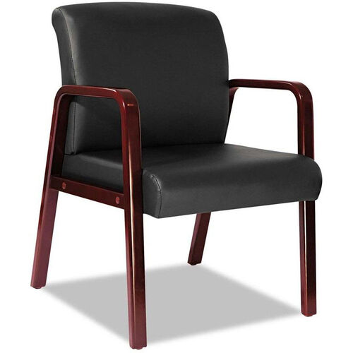 Our Alera® Reception Lounge Series Soft Leather Guest Chair with Cherry Wood Frame and Arms - Black is on sale now.