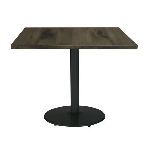 "Urban Loft 30"" Square Vintage Wood Top Table with Round Black Base - Barnwood"