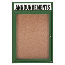 1 Door Indoor Illuminated Enclosed Bulletin Board with Header and Green Powder Coated Aluminum Frame - 36