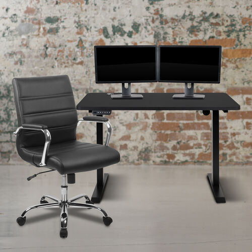 """48"""" Wide Black Electric Height Adjustable Standing Desk with Mid-Back Black LeatherSoft and Chrome Executive Swivel Office Chair"""