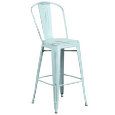 """Commercial Grade 30"""" High Distressed Green-Blue Metal Indoor-Outdoor Barstool with Back"""