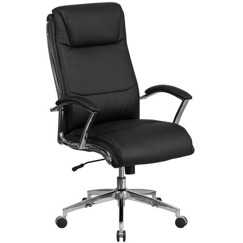 Our High Back Designer Leather Executive Swivel Chair with Chrome Base and Arms is on sale now.