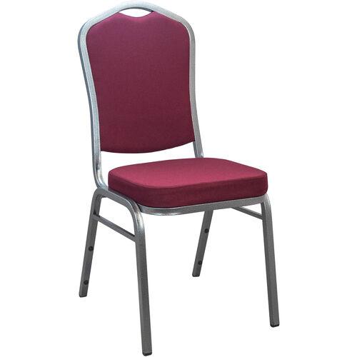 Advantage Burgundy Crown Back Banquet Chair with Silver Vein Frame