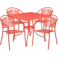 """Commercial Grade 35.5"""" Square Coral Indoor-Outdoor Steel Patio Table Set with 4 Round Back Chairs"""