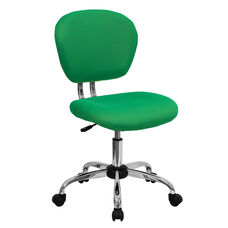Mid-Back Bright Green Mesh Swivel Task Chair with Chrome Base