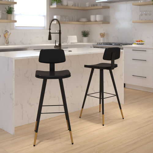 Kora Commercial Grade Low Back Barstools-Black LeatherSoft Upholstery-Black Iron Frame-Integrated Footrest-Gold Tipped Legs-Set of 2