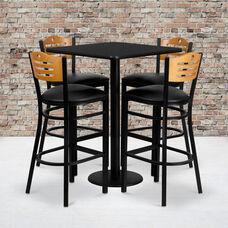 30'' Square Black Laminate Table Set with Wood Slat Back Metal Barstool and Black Vinyl Seat, Seats 4