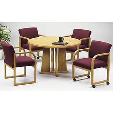 Contemporary Series Wood Conference Round Table with Tapered Base