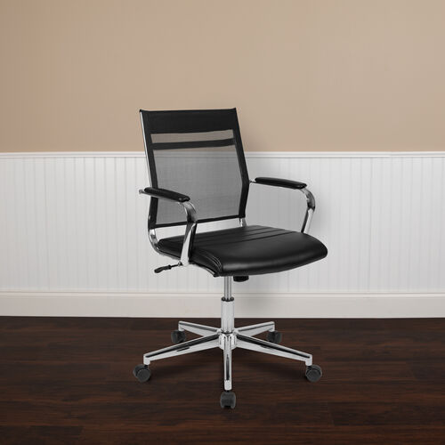 Our Mid-Back Black Mesh Contemporary Executive Swivel Office Chair with LeatherSoft Seat is on sale now.