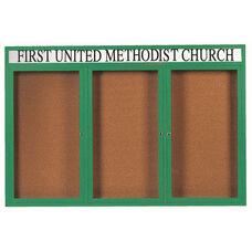 3 Door Indoor Enclosed Bulletin Board with Header and Green Powder Coated Aluminum Frame - 48