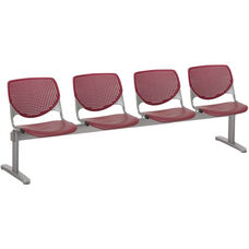 2300 KOOL Series Beam Seating with 4 Poly Perforated Back and Seats with Silver Frame - Burgundy