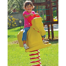 Weather Resistant Powder Coat Paint Finished Rotomolded Plastic Horse Spring Rider with Safety Handle