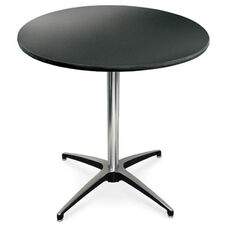 36'' Diameter Round Laminate Pedestal Table with Aluminum X-Base - 30''H