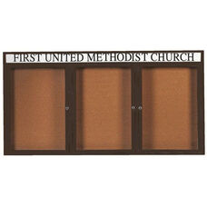3 Door Indoor Enclosed Bulletin Board with Header and Bronze Anodized Aluminum Frame - 36