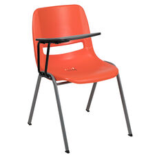 Orange Ergonomic Shell Chair with Right Handed Flip-Up Tablet Arm