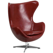 Cordovan Leather Egg Chair with Tilt-Lock Mechanism