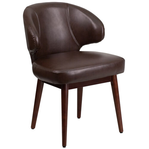 Our Comfort Back Series Brown Leather Side Reception Chair with Walnut Legs is on sale now.