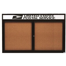2 Door Indoor Enclosed Bulletin Board with Header and Black Powder Coated Aluminum Frame - 36
