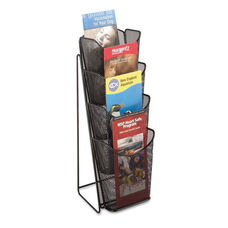 Safco® Onyx Mesh Counter Display - Four Compartments - 5-1/4w x 7d x 16-1/2h - Black