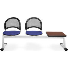 Moon 3-Beam Seating with 2 Royal Blue Fabric Seats and 1 Table - Mahogany Finish