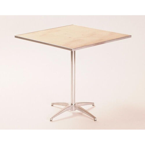 Our Standard Series Square Pedestal Table with Chrome Plated Steel Column and Plywood Top - 36