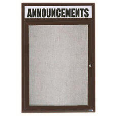 1 Door Outdoor Illuminated Enclosed Bulletin Board with Header and Bronze Anodized Aluminum Frame - 36