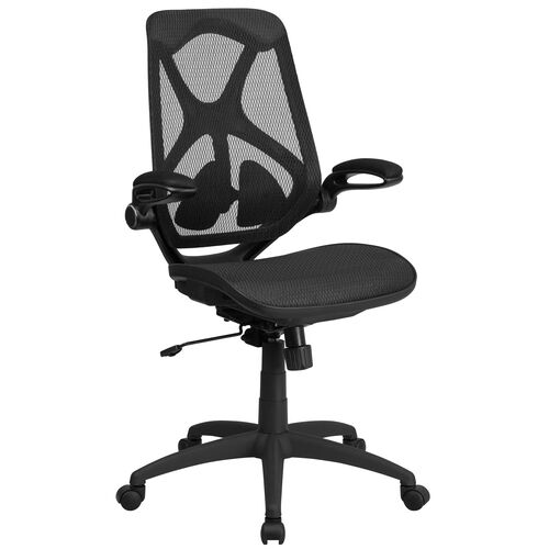 Our High Back Transparent Black Mesh Executive Ergonomic Office Chair with Adjustable Lumbar, 2-Paddle Control & Flip-Up Arms is on sale now.