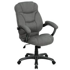 High Back Gray Microfiber Contemporary Executive Swivel Ergonomic Office Chair with Arms