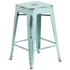 """Commercial Grade 24"""" High Backless Distressed Green-Blue Metal Indoor-Outdoor Counter Height Stool"""