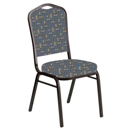 Our Embroidered Crown Back Banquet Chair in Eclipse Sky Fabric - Gold Vein Frame is on sale now.