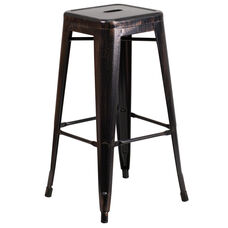 "Commercial Grade 30"" High Backless Black-Antique Gold Metal Indoor-Outdoor Barstool with Square Seat"