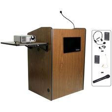 Multimedia Wireless 150 Watt Sound and Microphone Presentation Podium - Walnut Finish - 33