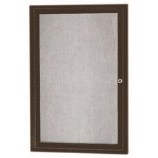 1 Door Outdoor Enclosed Bulletin Board with Bronze Anodized Aluminum Frame - 36''H x 24''W