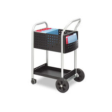 Safco® Scoot Mail Cart - One-Shelf - 22w x 27d x 40-1/2h - Black/Silver