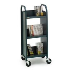 Single Sided Duro Book Truck with Slanted Shelves - 17''W x 14''D x 43''H