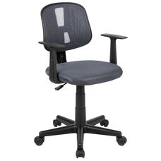 Basics Mid-Back Mesh Swivel Task Office Chair with Pivot Back and Arms, Gray, BIFMA Certified