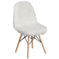 Shaggy Dog White Accent Chair