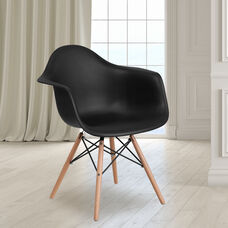 Alonza Series Black Plastic Chair with Wooden Legs