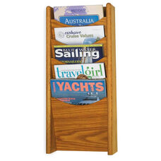 Wood Five Pocket Wall Mount Literature Display - Medium Oak
