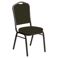 Embroidered Crown Back Banquet Chair in Scatter Celtic Fabric - Gold Vein Frame