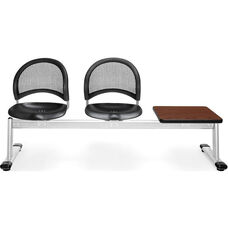 Moon 3-Beam Seating with 2 Black Plastic Seats and 1 Table - Cherry Finish