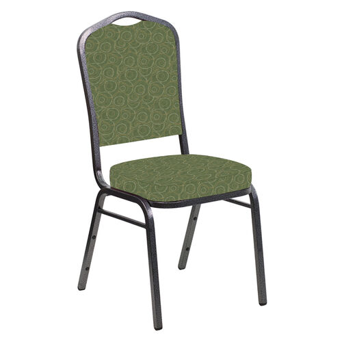 Our Embroidered Crown Back Banquet Chair in Martini Olive Fabric - Silver Vein Frame is on sale now.